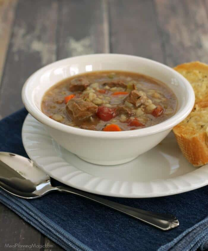 Slowcooker Italian Beef Vegetable Barley Soup | MealPlanningMagic.com #SundaySupper