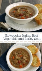 The perfect comfort food for cooler weather, this Slowcooker Italian Beef and Barley Vegetable Soup is delicious and nutritious with lean beef, whole grains and vegetables! | Recipe at MealPlanningMagic.com | #SundaySupper