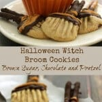 Brown sugar cookies with pretzels dipped in chocolate shaped like a witch's broom.