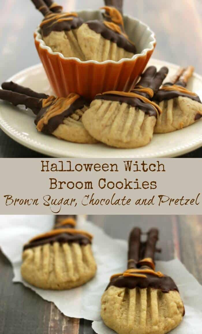 These Halloween Witch Broom Brown Sugar Chocolate and Pretzel Cookies have a depth and sweetness from the brown sugar with chocolate and pretzel for a great tasting cookie! |Recipe at MealPlanningMagic.com