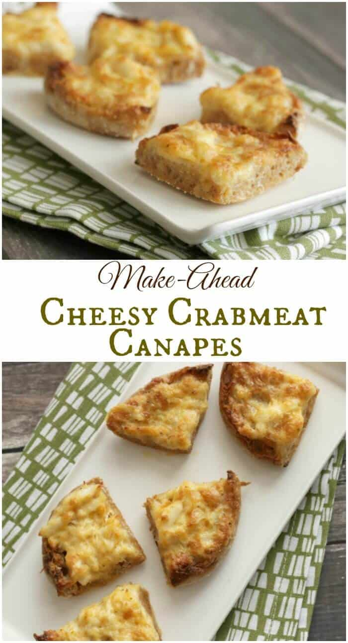 These Cheesy Crabmeat Canapes are an deliciously indulgent appetizer that can be made ahead for all your tailgating or holiday hosting occasions! | Recipe at MealPlanningMagic.com