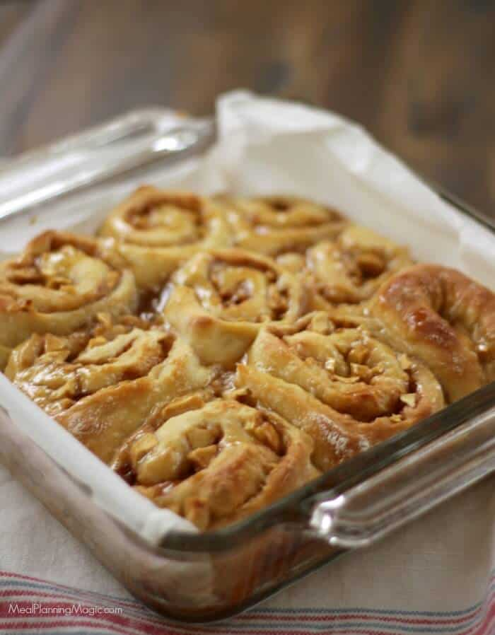 You will love these Overnight Apple Cinnamon Rolls! They are just slightly sweet and the bonus is they are made ahead so all you need to do is bake and enjoy! Find the recipe and my review of the entire The 8 x 8 Cookbook Review at MealPlanningMagic.com