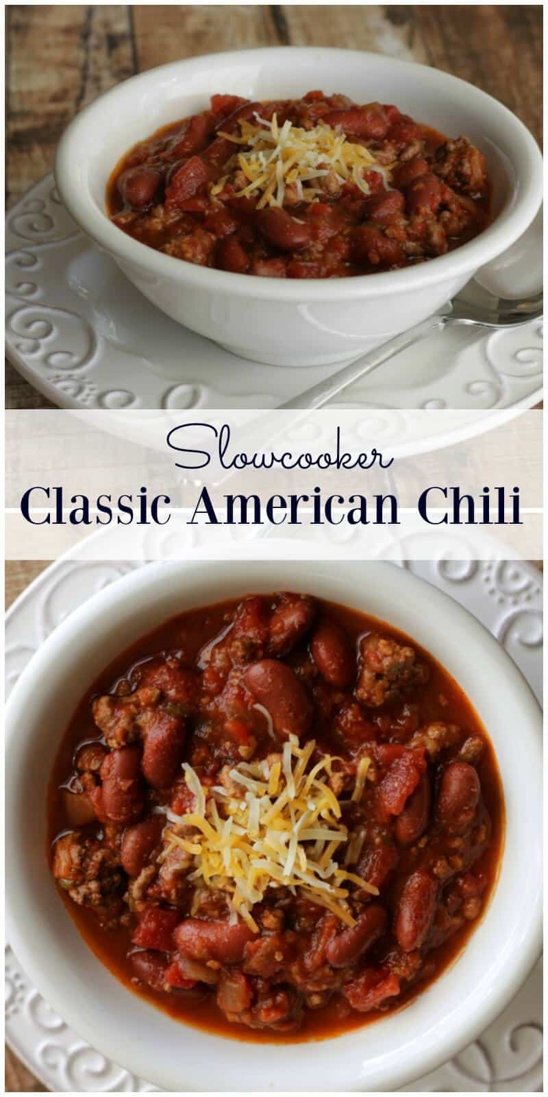 Slowcooker Classic American Chili is so simple and delicious! I've been making this for over a decade--a family favorite! | Recipe at MealPlanningMagic.com