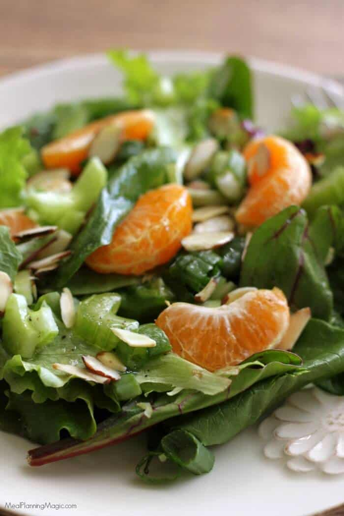 Enjoy the flavors of the season with this Mandarin Tossed Salad. You'll be amazed at how quickly you can throw together a delicious salad and try something new! | Find the recipe at MealPlanningMagic.com