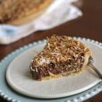 If you love German chocolate cake, you'll love this German chocolate pie! Creamy chocolate filling with nuts and coconut and SO much easier to make! | Find the recipe at MealPlanningMagic.com