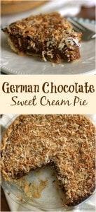 collage image of German sweet chocolate cream pie