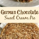 collage image of German sweet chocolate cream pie
