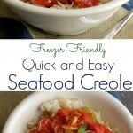 collage image of seafood creole in a white bowl at two different angles and a text overlay in between.