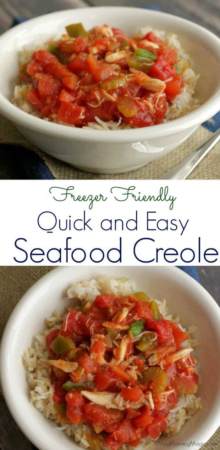 This Quick and Easy Seafood Creole is perfect for a busy weeknight. Full of flavor, fresh ingredients and seafood of your choice, it's freezer friendly too! |Recipe at MealPlanningMagic.com