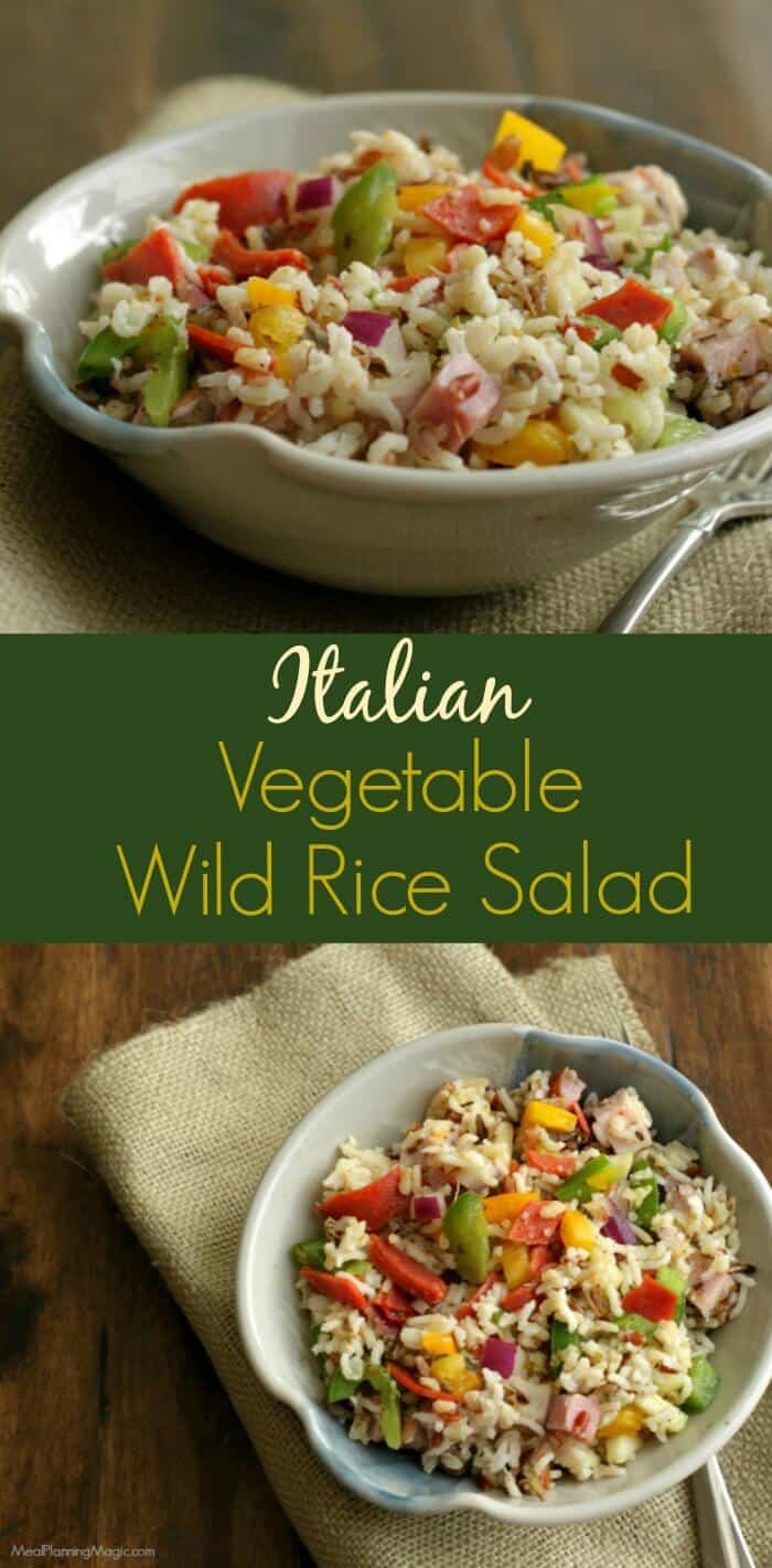 My Italian Vegetable Wild Rice Salad is full of protein, vegetables and whole grains--just one of the many great recipes that is part of the Healthy Family Classics Cookbook! | Recipe and details at MealPlanningMagic.com