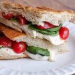 Simple Caprese Panini (with Tomato, Basil and Mozzarella)