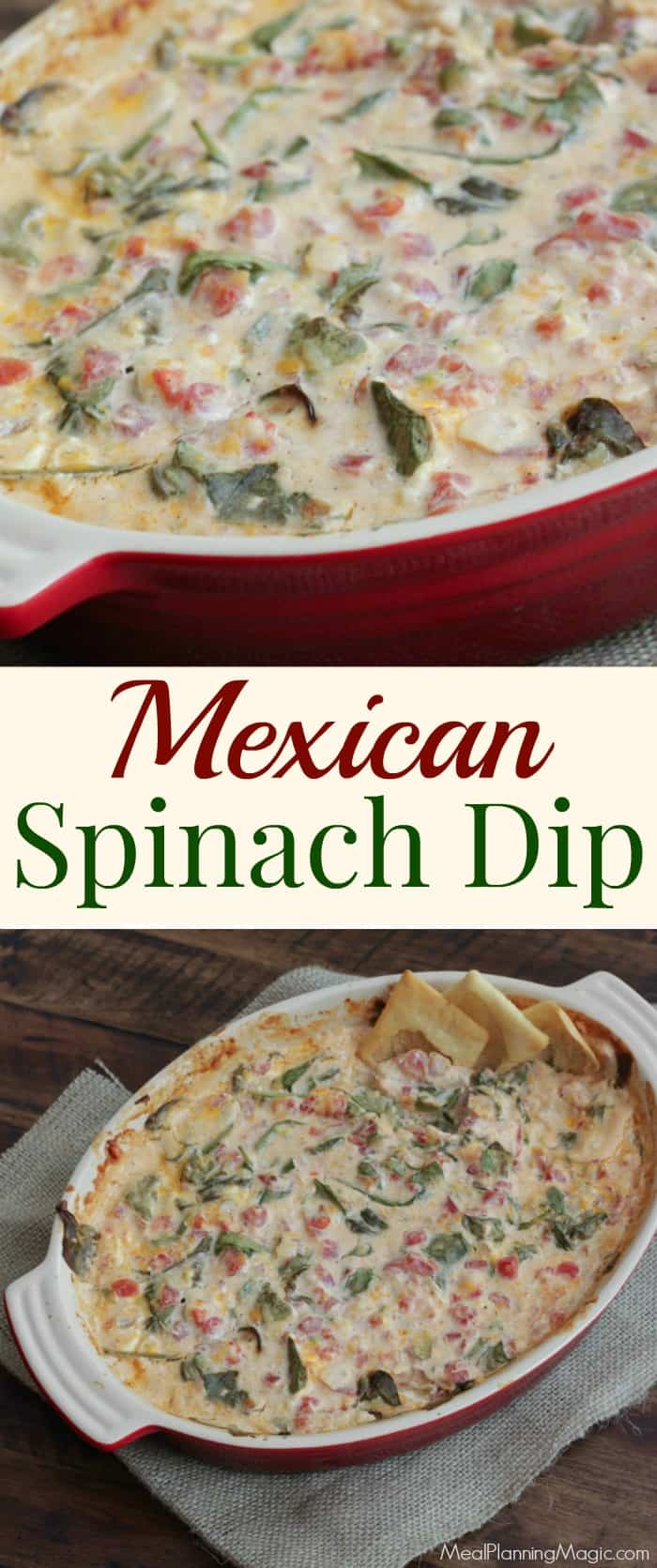 You'll love this twist on spinach dip! This Mexican Spinach Dip is made with all-natural ingredients, full of veggies and perfect for any occasion! | Find the recipe at MealPlanningMagic.com