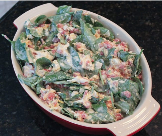 picture of unbaked Mexican Spinach Dip