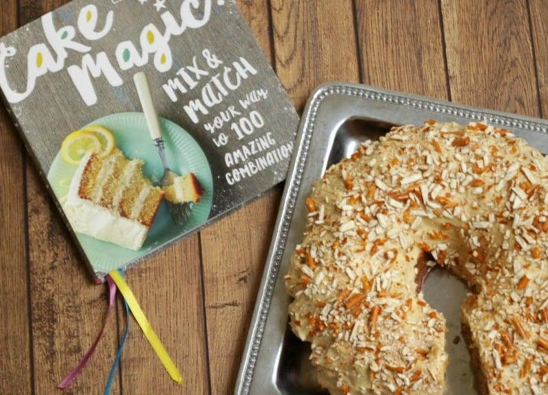 Peanut Butter Pretzel Cake-cake with book-mealplanningmagic