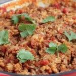 Spanish Rice and Beef Skillet Dinner in pan topped with cilantro