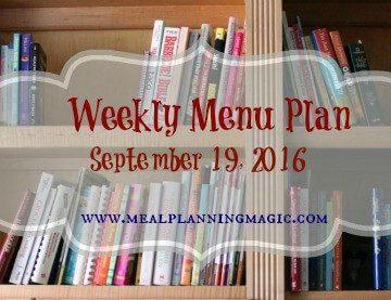 Weekly Menu Plan {September 19, 2016} Find inspiration at MealPlanningMagic.com