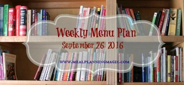 Weekly Menu Plan {September 26, 2016} Find inspiration at MealPlanningMagic.com