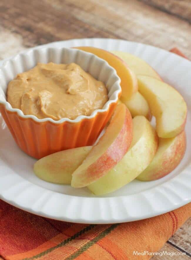 Simple and so tasty with fresh fruit like sliced apples, this Creamy Pumpkin Dip is a perfect fall snack or treat anytime! | Get the recipe at MealPlanningMagic.com