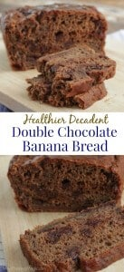 collage of Healthier Decadent Double Chocolate Banana Bread whole and stack of slices