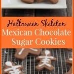 Collage image of Mexican chocolate sugar cookies shaped like skeletons on a plate and baking rack.