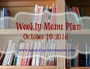 Weekly Menu Plan {October 10, 2016} Find inspiration at MealPlanningMagic.com