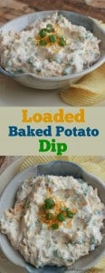 collage image of creamy Baked Potato Dip in a bowl with cheddar cheese and green onions on top with potato chips on side.