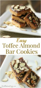 collage image of stack of Toffee Almond Bars on a plate divided by text overlay.