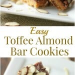 These Easy Toffee Almond Bars are simple shortbread bars with a light toffee flavor topped with chocolate and almonds! | Recipe at MealPlanningMagic.com