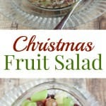 Collage image of red and green fruit salad divided by text overlay.