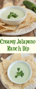 collage image of Creamy Jalapeno Ranch Dip in a white bowl surrounded by tortilla chips