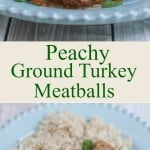 collage image of side and top views of Peachy Ground Turkey Meatballs with rice pilaf on a blue plate.