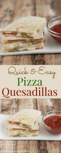 Collage image of pizza quesadillas on a plate with text between images