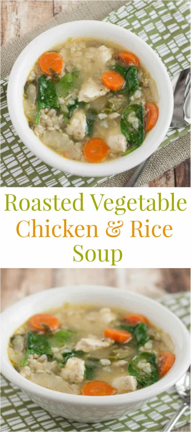 roasted veggie and chicken and rice soup-collage