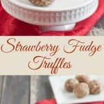 collage image of almond covered strawberry fudge truffle on a white mini cake stand with red napkin background and text overlay in middle.