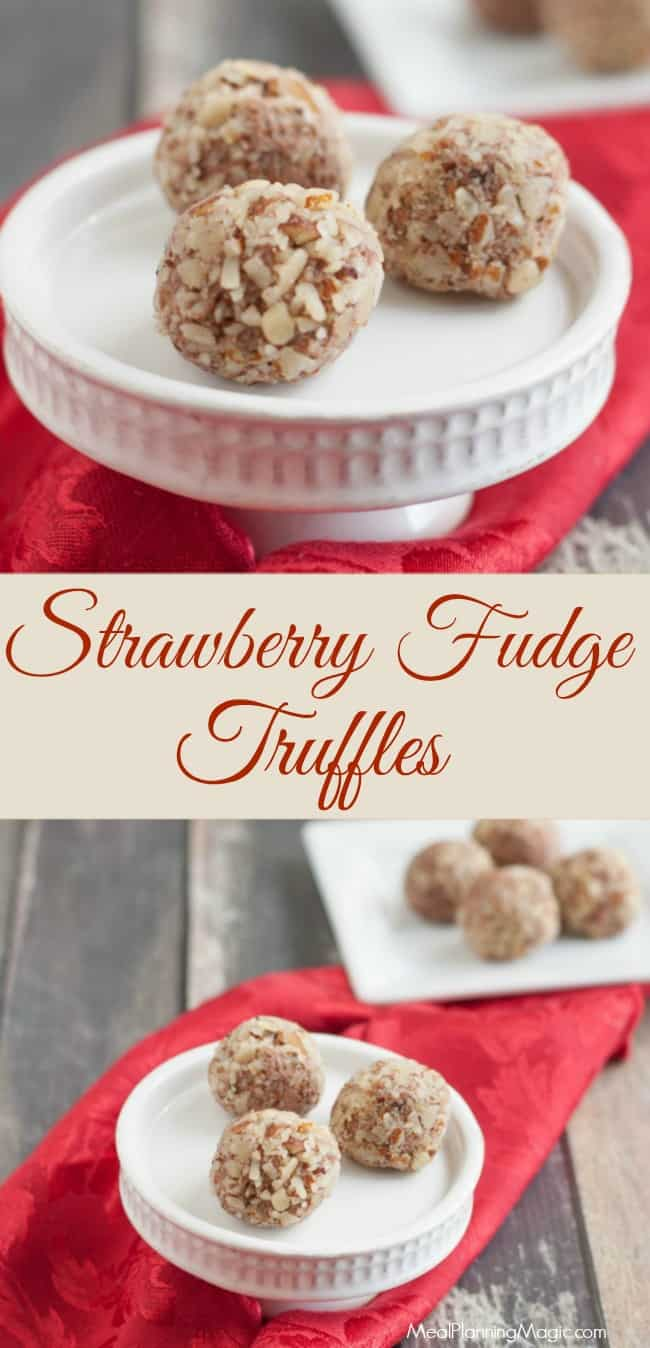 strawberry fudge truffles-collage