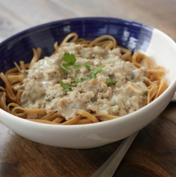 Ground Turkey and Clam Sauce with Linguine is simple enough for an easy weeknight meal but fancy enough for company too! Recipe at MealPlanningMagic.com