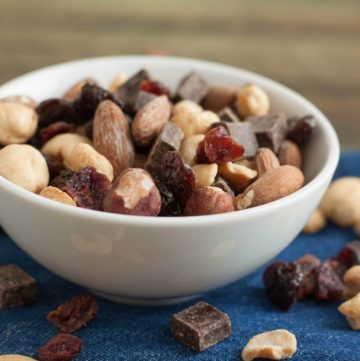 My Black Forest Trail Mix is full of protein and nutrient rich nuts and dried fruit like cherries and hazelnuts and just a bit of dark chocolate—the perfect combination of salty and sweet! Get the recipe at MealPlanningMagic.com