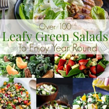With over 100 Leafy Green Salad Recipes in this roundup, you can enjoy a new salad (or two) every week of the year! Get the links at MealPlanningMagic.com