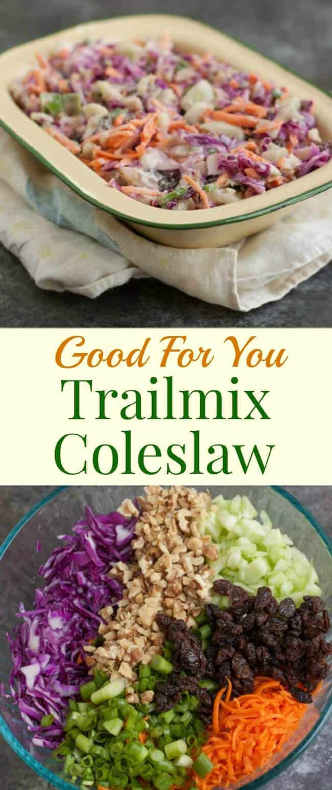 Filled with good for you vegetables, nuts and dried fruits, this Trailmix Coleslaw is easy to make ahead and do delicious too!