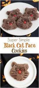 Collage image of chocolate cookies shaped and decorated like cat faces on a white plate on a black napkin with jack-o-lantern faces.