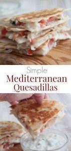 Stack of Mediterranean chicken quesdadillas on a wooden cutting board with yogurt dip on side.