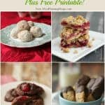 Collage image of four types of cookies with holiday baking tips text at top