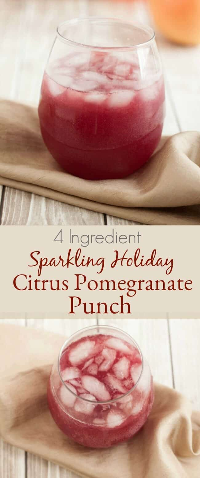 Sparkling Holiday Citrus Pomegranate Punch</strong> is a perfect non-alcoholic punch for all your special occasions. With only four ingredients it's easy to make ahead too. Easy and delicious!
