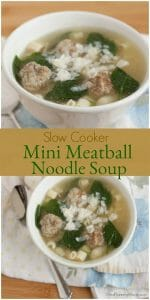 Collage image of Mini Meatball soup with spinach and pasta topped with Parmesan cheese in a white bowl.
