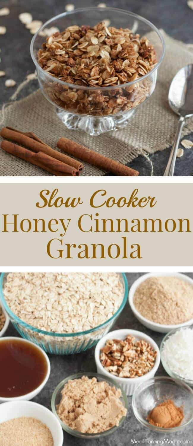 You'll love how nutritious and delicious this Slow Cooker Homemade Honey Cinnamon Granola is! Enjoy as breakfast or snack or as a topping on yogurt and more!