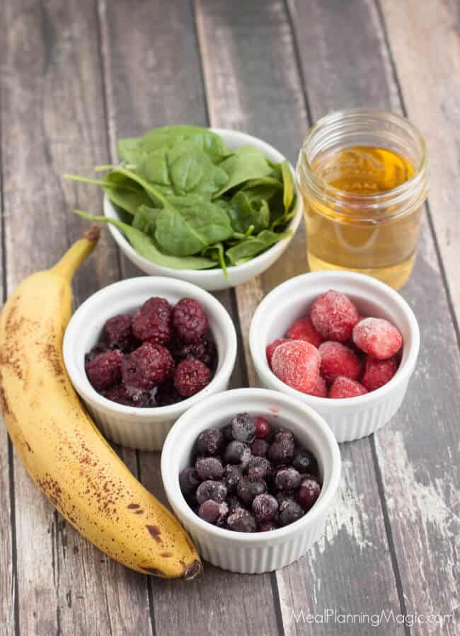 image of frozen berries banana and spinach for smoothie