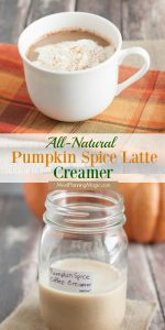 Collage image of Pumpkin Spice Latte Creamer with creamer in jar and coffee in mug with title.