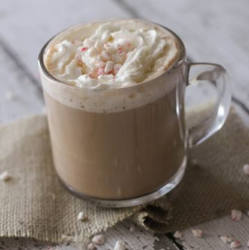 Top side view image of Peppermint Mocha Creamer in mug with whipped cream and peppermint sprinkled around.