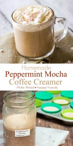 Collage image of mug of coffee (top) and (below) Homemade Peppermint Mocha Coffee Creamer with text in between