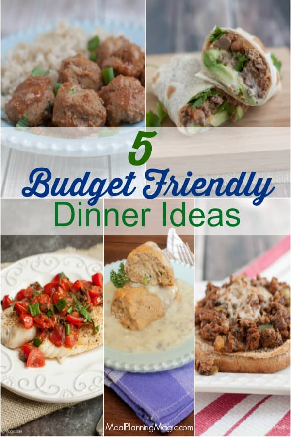 image of collage of budget friendly dinner ideas